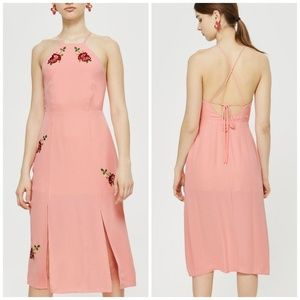 Topshop Embroidered midi slip dress nwt